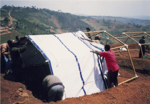 Paper Refugee Shelters for Rwanda, 1999, Byumba Refugee Camp, Rwanda Photo by Shigeru Ban Architects